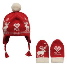 8cdd646dffa  Ralph Lauren baby girls red knitted pom-pom hatwith ear flaps andmatching  mittens made