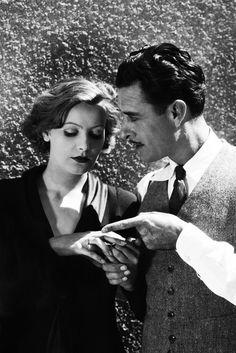 Greta Garbo and John Gilbert on the set of Flesh and the Devil (1926)