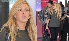 Ellie Goulding goes casual as she and Dougie Poynter leave Adelaide