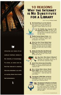 Library Online Lounge - Tarleton Libraries: Infographic: 10 Reasons the Internet is no Substitute for a Library Library Humor, Library Posters, Library Quotes, Library Lessons, Library Books, Library Ideas, Library Signs, Book Quotes, Middle School Libraries
