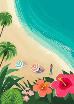 Michael Crampton produced this series of illustrations for Capital One Ventures latest advertising campaign. Inspired by retro travel posters Michael's graphic style has created a stunning set of contemporary artworks. Hawaii Vintage, Retro Vintage, Painting Inspiration, Art Inspo, Posters Vintage, Beach Illustration, Madhubani Painting, Tropical Art, Surf Art