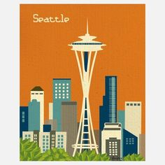 Seattle Print, $22, now featured on Fab.