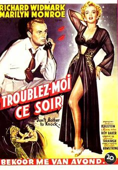 DON'T BOTHER TO KNOCK (1952) - Richard Widmark - Marilyn Monroe - French movie poster.