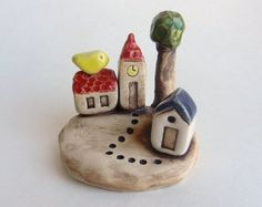clay houses ceramic houses miniature house tiny by potteryhearts Clay Houses, Ceramic Houses, Miniature Houses, Ceramics Projects, Clay Projects, Clay Crafts, Polymer Clay Dolls, Polymer Clay Miniatures, Little Yellow Bird