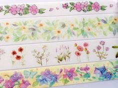 Sample Set - Flowers Washi Tape Samples Set - 4 designs, 1m from each design - Free Shipping