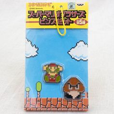 Super Mario Bros. Dot Character Pins Set Mario Ver.2 JAPAN NES FAMICOM NINTENDO #Banpresto