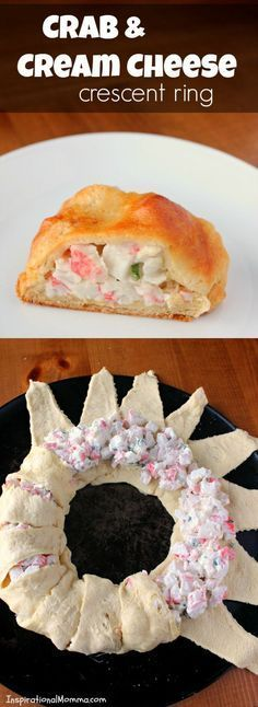 Crab and cream cheese crescent ring. With crispy, flaky crescent rolls filled a delicious crab and cream cheese mixture, this Crab & Cream Cheese Crescent Ring is simple and scrumptious! Seafood Dishes, Seafood Recipes, Cooking Recipes, Seafood Pasta, Seafood Platter, Dishes Recipes, Imatation Crab Recipes, Vegetarian Recipes, Crab Dishes