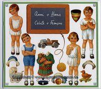 Französische Anziehpuppen zum Ausschneiden 50 Teile Anni, Hans, Cécile und Francois