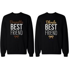 Cute Brunette and Blonde Best Friend Matching BFF Pullover Sweaters ❤ liked on Polyvore featuring tops, sweaters, shirts, bffs, shirt sweater, sweater pullover, pullover tops, pullover sweaters and shirt tops