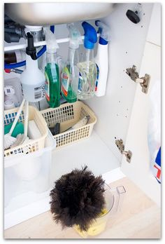 Cleaning Supplies Another great use for a tension rod.under sink storage for cleaning supplies! Organisation Hacks, Kitchen Organization, Storage Organization, Storage Spaces, Storage Ideas, Organizing Ideas, Organized Kitchen, Kitchen Storage, Cabinet Storage