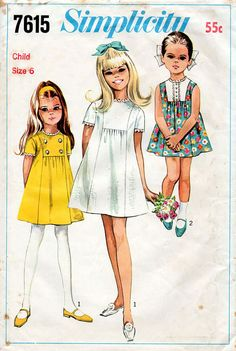 1960s Girl's Dress Pattern Simplicity 7615 by BessieAndMaive
