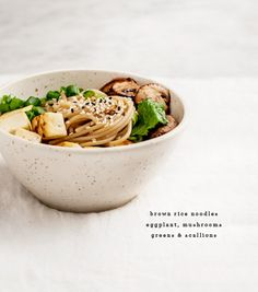 ginger miso sauce eggplant noodles  Rice noodles mushrooms greens kale spinach tofu