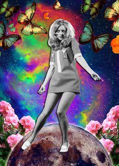 dancinginthemoon by naci posca - collage art