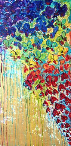 Blowing kisses, heart, hearts, butterflies, heart painting, heart art, heart canvas, butterfly art, butterfly painting, butterfly canvas, love art, love canvas, love painting, abstract art, abstract painting, abstract canvas, rainbow painting, rainbow art, rainbow canvas, valentine
