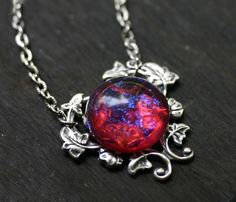Dragons Breath Fire Opal Necklace by robinhoodcouture on Etsy, $24.00