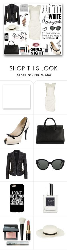 """Que Sera' Sera'"" by rboowybe ❤ liked on Polyvore featuring St. John, GUESS by Marciano, Chanel, Yves Saint Laurent, Balmain, Victoria Beckham, CLEAN, Bobbi Brown Cosmetics, Lanvin and WALL"