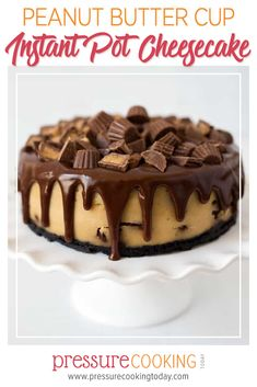 A super smooth, rich, and creamy Pressure Cooker Peanut Butter Cup Cheesecake dripping with chocolate ganache and crowned with chopped peanut butter cups. Brought to you by Pressure Cooking Today. Peanut Butter Cups, Peanut Butter Cup Cheesecake, Chocolate Chip Cheesecake, Chocolate Ganache, Peanutbutter Cheesecake Recipes, Cheesecake Desserts, Blueberry Cheesecake, Chocolate Desserts, Instant Pot Pressure Cooker