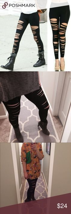 Best ripped leggings Black ripped and distressed leggings. 95% cotton 5% spandex. Dress up for a sexy look or dress down with a pair of converse sneaks and a tee.  Made in the USA . Very versatile and super cute. ❤these!!  Small sizes 2-4, medium sizes 6-8, large 10-12. Fashionomics Pants Leggings