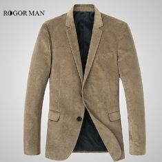 ROGORMAN high quality 2015 men 100% cotton spring autumn super slim corduroy korean style fashion business party suits blazers