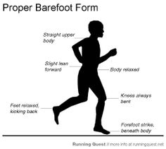 A guide to barefoot running. Includes helpful advice on how to prepare, learning the stride, proper form, and increasing your running distance. Barefoot Running, Going Barefoot, Proper Running Form, Running Club, Trail Running, Body Fluid, Running Workouts, Workout Tips, Born To Run