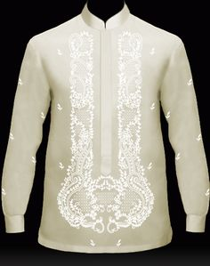 MyBarong : Men's Barong Tagalog Design it. Watch your Custom Tailor Barong come to life as you click & selec. Barong Tagalog Wedding, Barong Wedding, Filipiniana Wedding Theme, Filipiniana Dress, Mexican Costume, Chinese Collar, Tropical Fashion, Kurta Designs, Lace Design