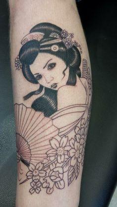 Geisha girl japanese tattoo forearm beautiful fan flowers cherry blossom