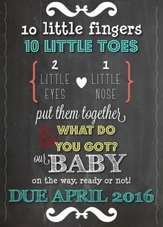 Announce your pregnancy to family and friends with this colorful and fun Chalkboard announcement!  Just purchase the listing and within minutes a PDF &