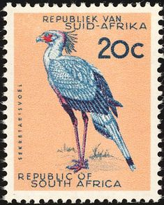 Stamp Collection Value, Sagittarius Serpentarius, Union Of South Africa, Vintage Stamps, African Animals, Stamp Collecting, Coat Of Arms, National Geographic, Wildlife