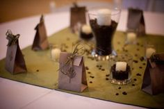 I like these for table decor - want to add pictures of us somehow, maybe? - HAB