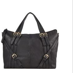 Black handbag Soft black faux leather handbag with gold buckles and removable shoulder strap. Approximately 15.5x11x6. Used a couple times, excellent condition. JustFab Bags Satchels