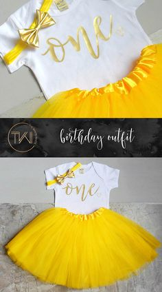 First Birthday Outfit Girl Yellow Belle Gold Tutu Girl First This First Birthday Girl Outfit including a yellow tutu, one shirt and gold bow is the perfect outfit for her first birthday party and the added bonus of looking like Belle from the Beauty and the Beast is always a plus!