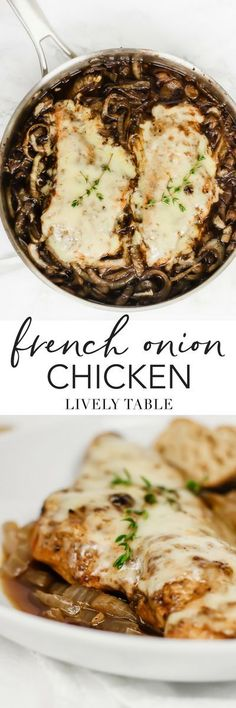 One pan French Onion Chicken combines the taste of French onion soup with chicken into a healthy, comforting dinner made with real food ingredients that the whole family will love! (#glutenfree option) #chicken #dinner #frenchonion #comfortfood #maindish #onedish