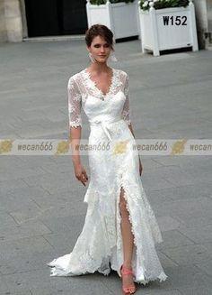 Wedding Dress Evening Gown Sheath Bridal Gown Lace Half Sleeve Spaghetti strap