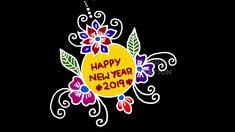 free hand new year rangoli design by trendyanimation. 3d Art Drawing, Art Drawings, New Year Rangoli, Free Hand Rangoli Design, Indian Rangoli, Colorful Rangoli Designs, Happy New Year 2019, Simple Rangoli, Hello Everyone