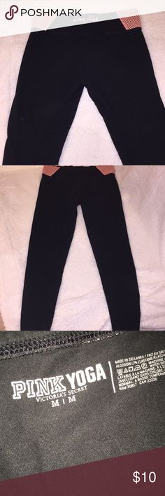 PINK Victoria Secret Yoga Pants 💕 VS PINK Yoga Pants 💫 Black & Coral 💫Size Medium  💫Pre loved condition (somewhat they have faded they still look great on and no flaws price reflects pre loved condition) 💫💫Bundle & Save💫💫 PINK Victoria's Secret Pants Leggings