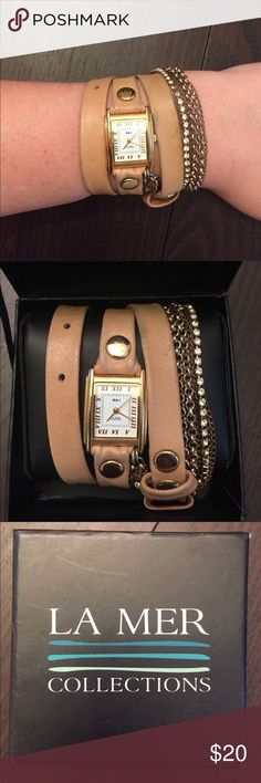 La mer collections wrap watch La mer collections wrap watch. Leather and bracelet chain strap. Battery needs replaced. Normal wear, good condition. Price is negotiable. Make me an offer! No trades please La Mer Accessories Watches