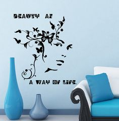Girl Woman Butterfly  Wall Decal Vinyl Sticker Wall by CozyDecal, $12.99