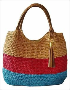 """New Cheap Bags. The location where building and construction meets style, beaded crochet is the act of using beads to decorate crocheted products. """"Crochet"""" is derived fro Crotchet Bags, Crochet Tote, Crochet Handbags, Crochet Purses, Love Crochet, Knitted Bags, Bead Crochet, Crochet Crafts, Cheap Bags"""