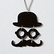 Mustache Articulate Pendant Necklace