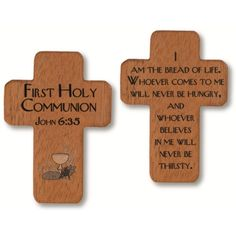 A little wooden pocket cross in remembrance of a First Holy Communion. Ideal for placing inside a greeting card.