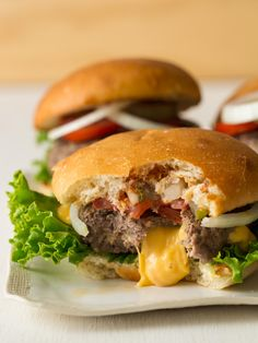 """A cheese-stuffed burger? Yes, please! Check out these """"Juicy Lucys"""" from Spoon Fork Bacon."""