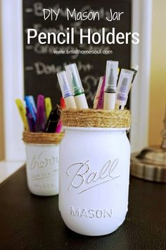 Make these easy DIY Mason Jar Pencil Holders for a stylish addition to your desk…