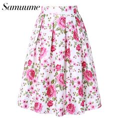 Special price Samuume Summer Pink Floral Print Elegant White Skirts Women 2017 Elastic High Waist Knee  Midi Skirt Saia Free Shipping A1702009 just only $12.47 with free shipping worldwide  #womanskirts Plese click on picture to see our special price for you