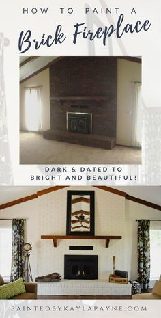 How to paint a brick fireplace! Transform your brick fireplace with these 5 simple steps. Before and After painted brick fireplace reveal! - 5 Simple Steps to Painting a Brick Fireplace Brick Fireplace Remodel, Brick Fireplace Wall, White Wash Brick Fireplace, Painted Brick Fireplaces, Fireplace Update, Brick Fireplace Makeover, Fireplace Design, Fireplace Mantels, Painting A Fireplace