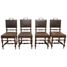 1400 Set of Four 19th Century Renaissance Revival Oak Side Chairs | From a unique collection of antique and modern dining room chairs at https://www.1stdibs.com/furniture/seating/dining-room-chairs/