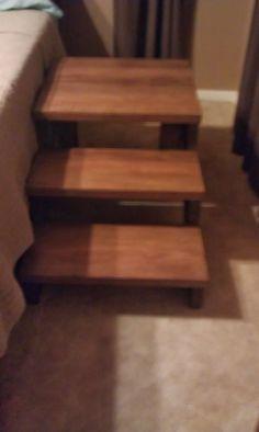 Diy Dog Stairs Dog Ramp For Stairs, Dog Steps For Bed, Dog Ramp For Bed, Bed Stairs, High Beds, Dog Items, Diy Bed, Diy Stuffed Animals, Dog Houses