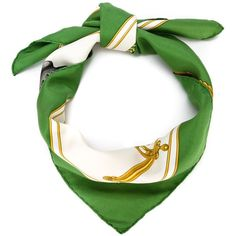 Hermès Vintage 'Carrick à pompe' printed scarf (€460) ❤ liked on Polyvore featuring accessories, scarves, white silk shawl, vintage scarves, white scarves, silk scarves and green shawl