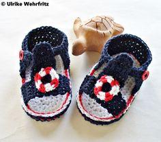 Babyschuhe Baby Sandalen Matrosenlook strickliene von strickliene Babyschuhe und Turnschuhe auf DaWanda.com