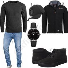 Schwarzes Männer-Outfit mit Timberland Boots und New Era Cap (m0665) #cap #watch #jeans #pullover #timberland #outfit #style #fashion #ootd #männer #herren #outfit2017 #outfit #style #fashion #menswear #mensfashion #inspiration #menstyle #inspiration