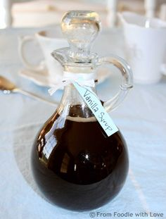 Homemade Vanilla Syrup ~ A simple  inexpensive recipe for homemade vanilla syrup. Great for flavoring coffee or espresso beverages, to pour over pancakes, or for homemade cream soda. Makes a great gift, too!